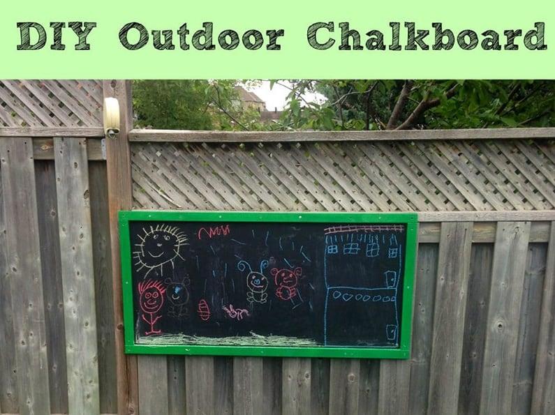 ChalkBoard DIY for kids in backyard