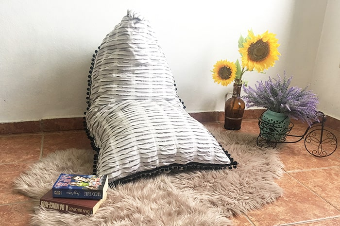 How to make a Pyramid Bean Bag Chair out of old curtains