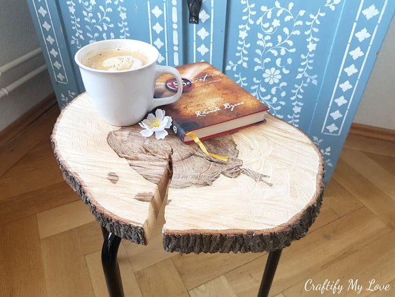 Ikea hack wood slice coffee side table DIY
