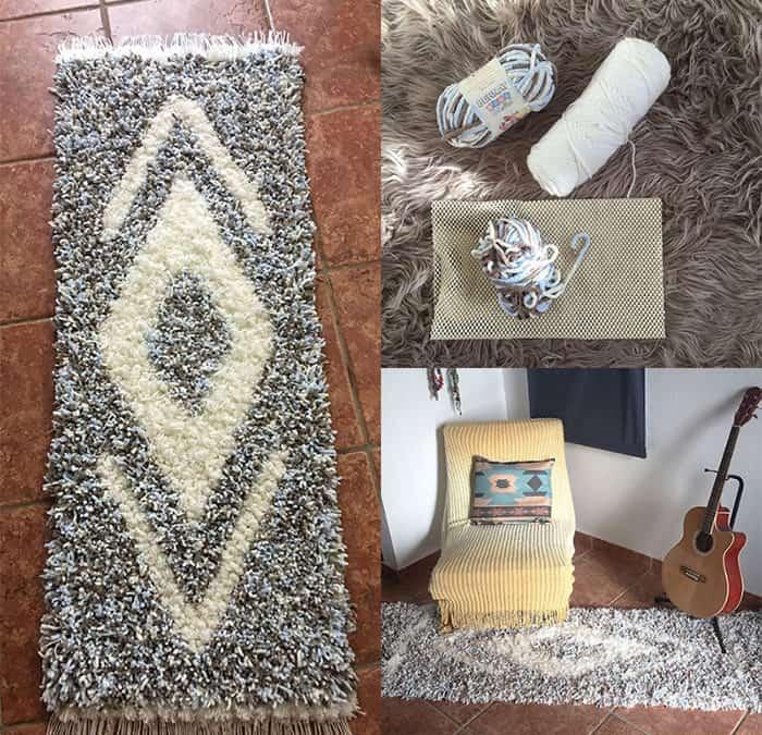 Fluffy pom pom rug DIY with the best yarn
