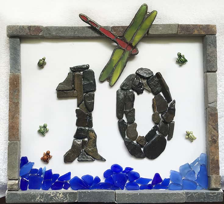 creative mosaic address signs