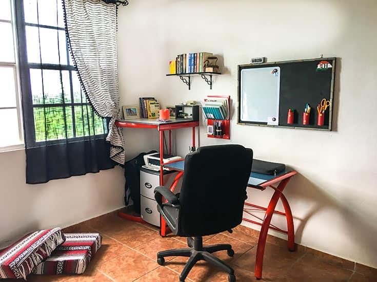 Repurposed computer desk and office DIY hacks
