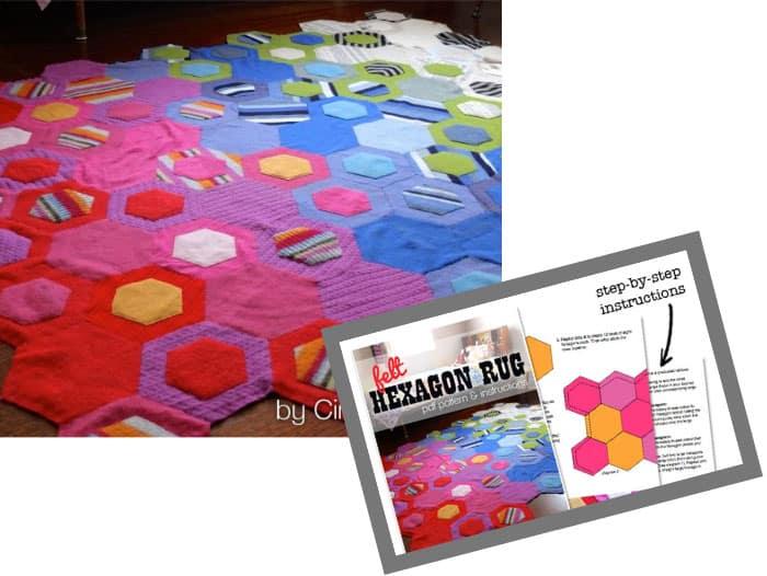 Upcycle felt sweater hexagon rug