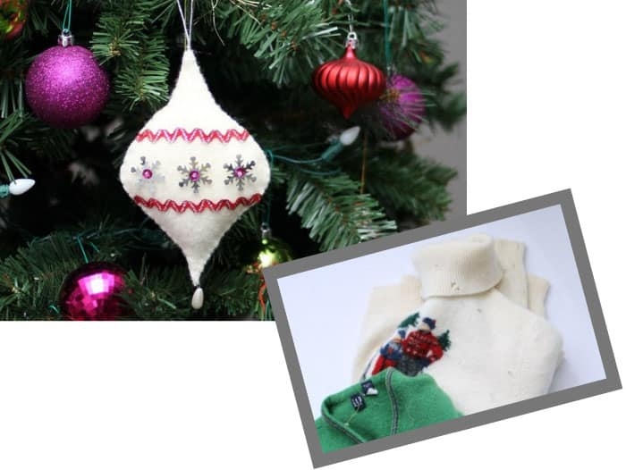 DIY old sweater Christmas ornament