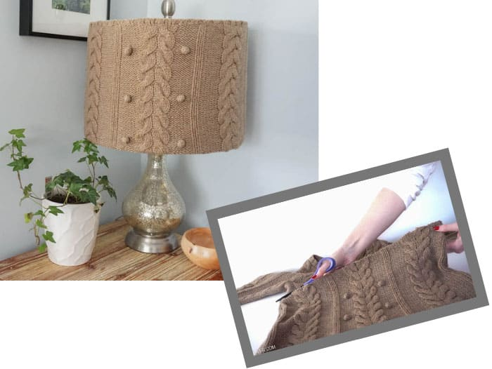 upcycled old sweater into lampshade