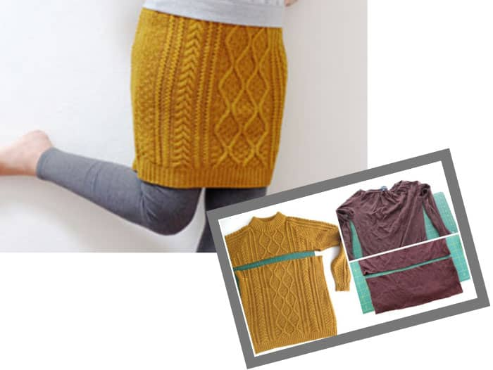 repurpose old cable knit sweater into skirt