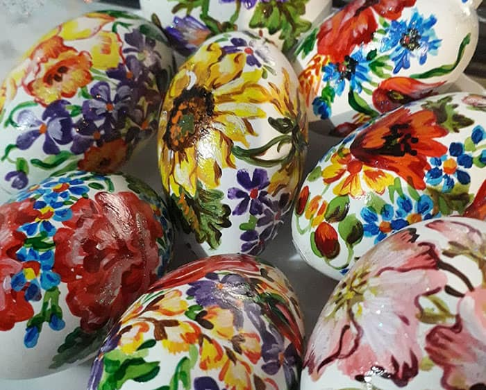 flower hand painted easter eggs crafts