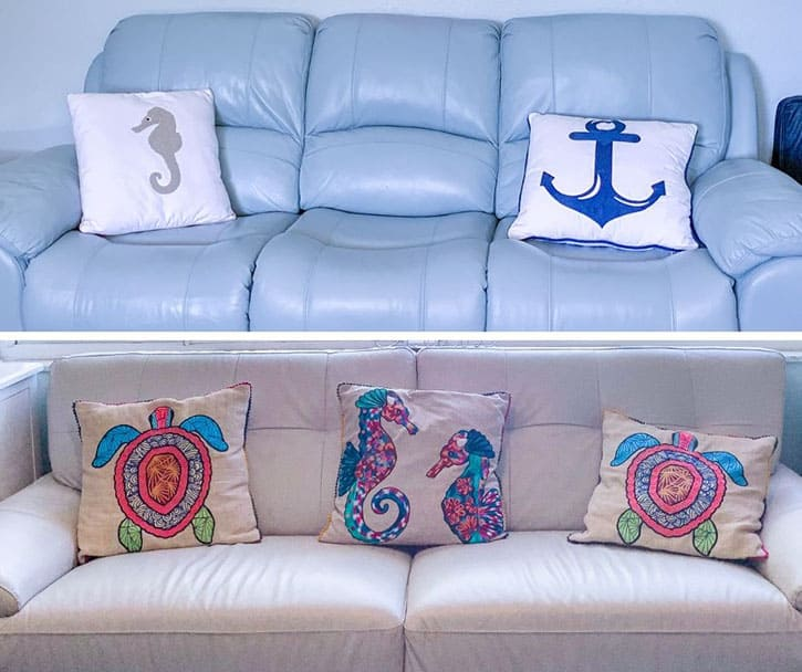 coastal themed decorative pillows