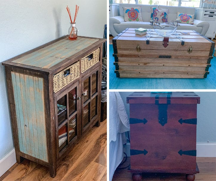 rustic wooden tables and consoles
