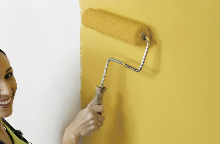 mustard yellow kitchen walls