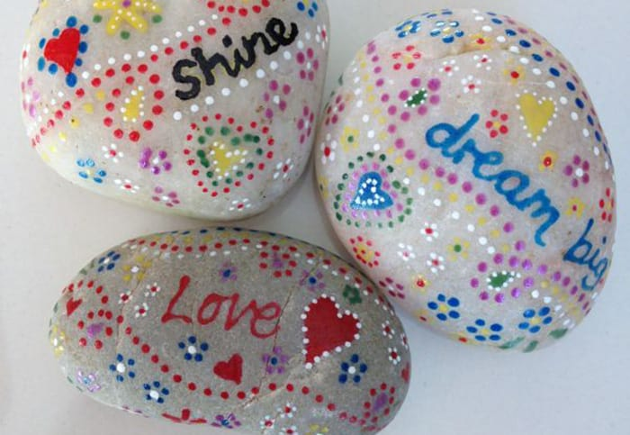 painted rocks with quotes