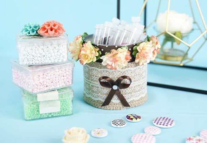 make your own fabric storage bins