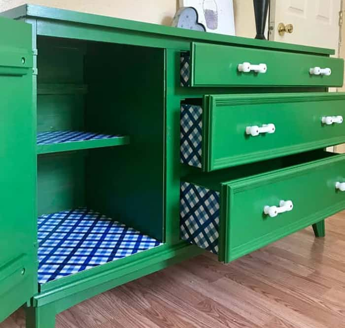 vibrant green paint on a dresser