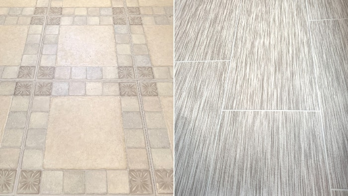 how to redo bathroom floor cheap