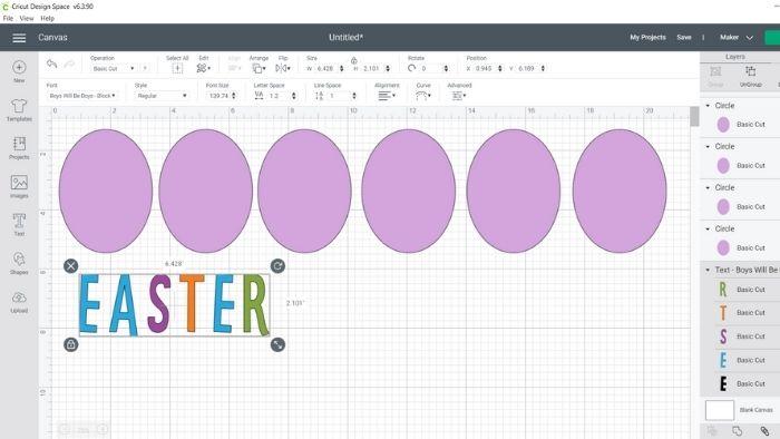 edit shapes for Easter banner