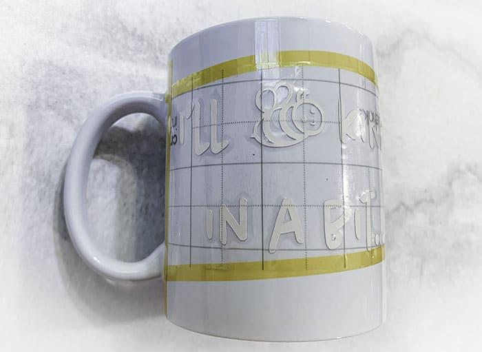 decorating mugs with Cricut