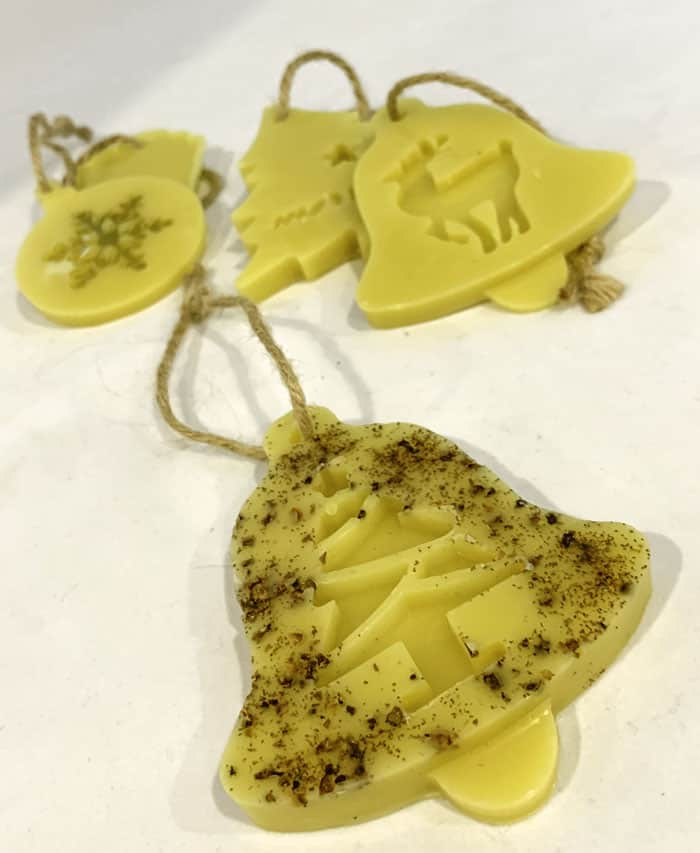 beeswax ornaments with oils and spices