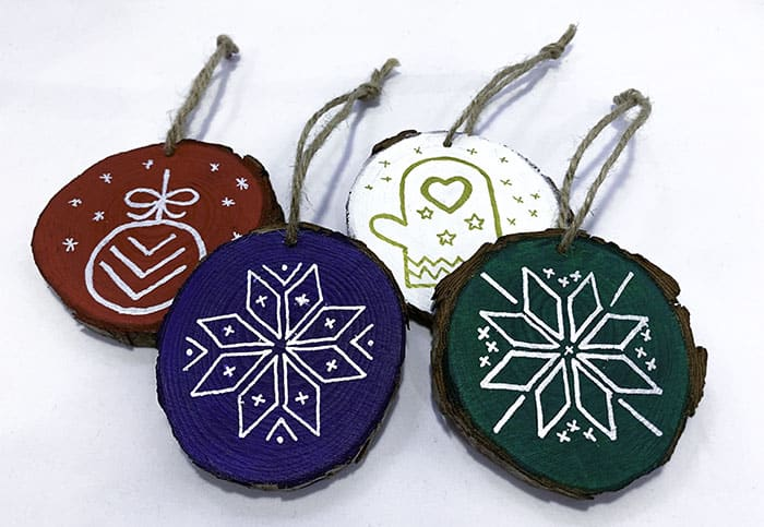 painted nordic wooden ornaments