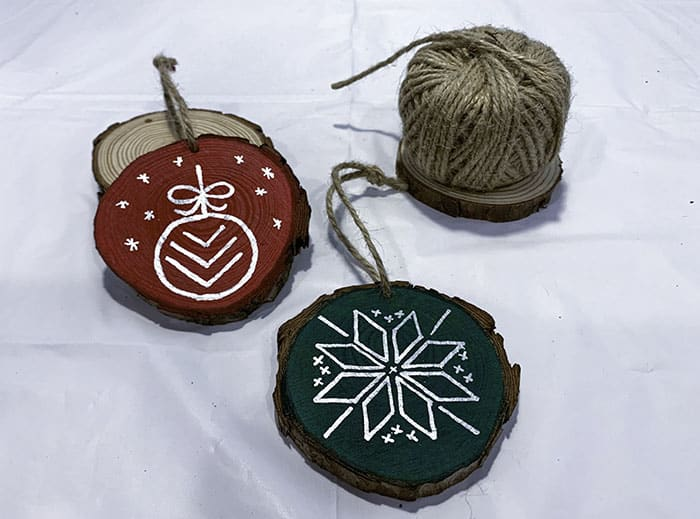 twine for hanging wooden ornaments