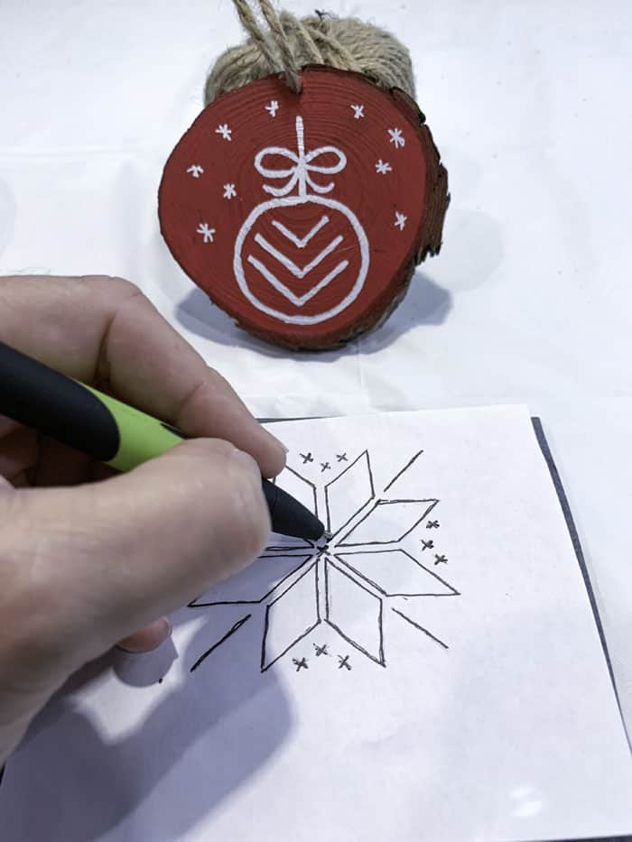 transfer pattern to wood ornament